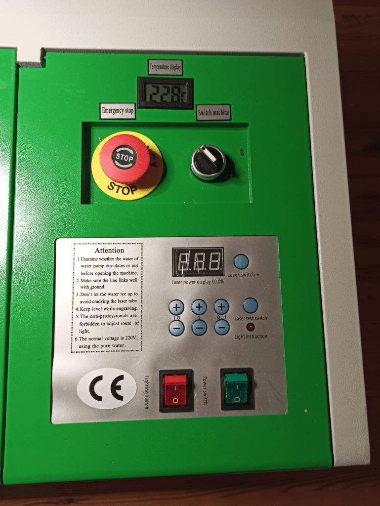 k40 laser machine control panel